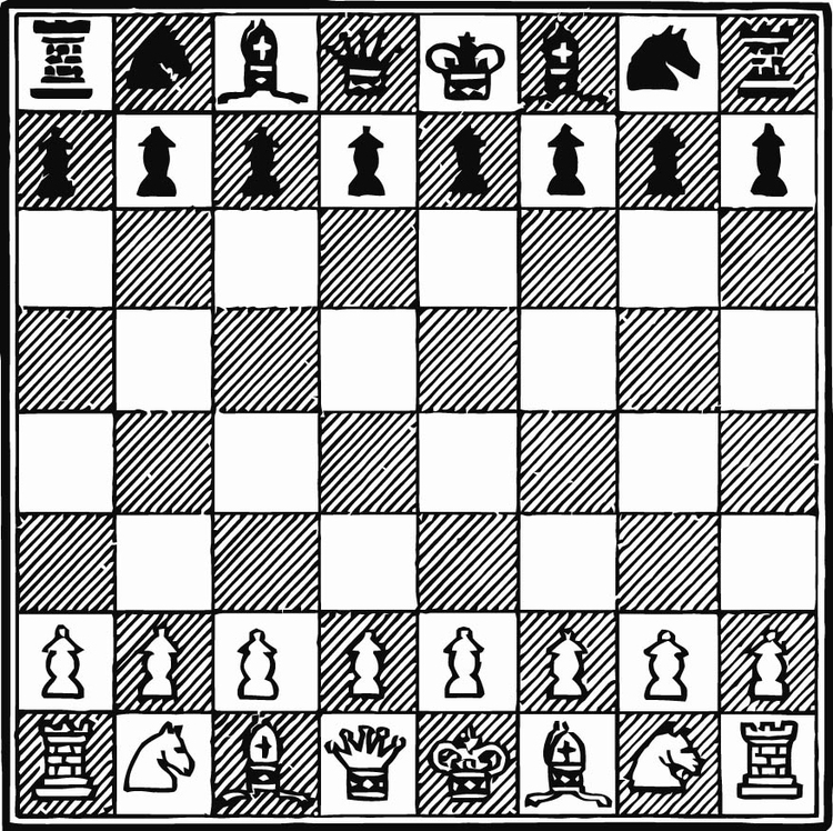 Coloring page Play Chess