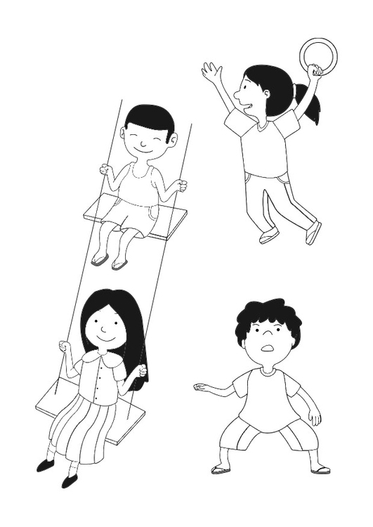 Coloring page playing children