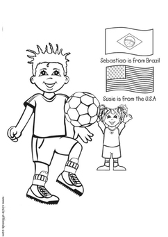 Coloring page playing football