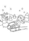Coloring pages playing in the snow