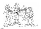 Coloring page playing music