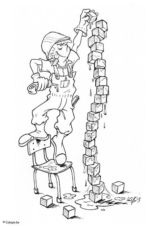 Coloring page playing with building blocks