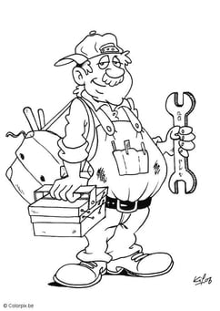 Coloring page plumber