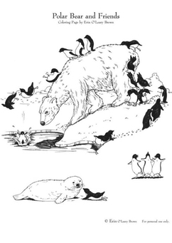 Coloring page polar bear and friends
