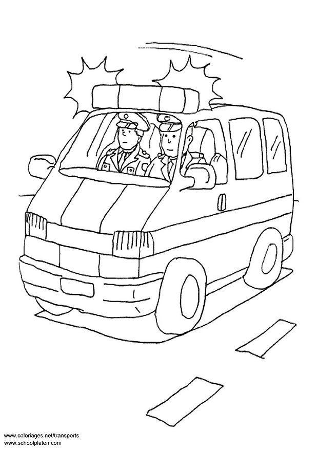police car colouring pages