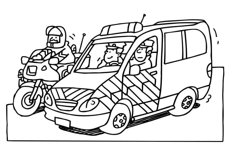 Kleurplaten Politieauto.Kleurplaat Politieauto