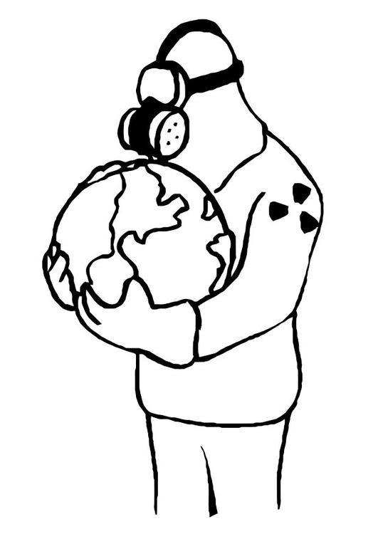 Coloring page polluted Earth
