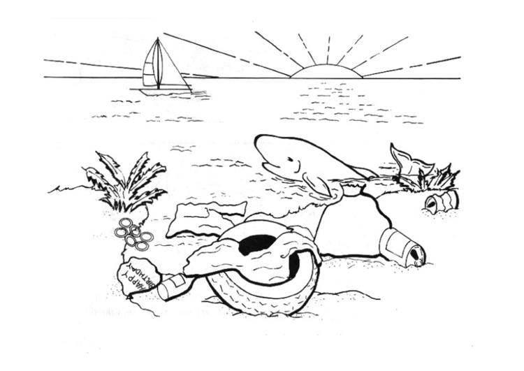 Coloring page polluting the water