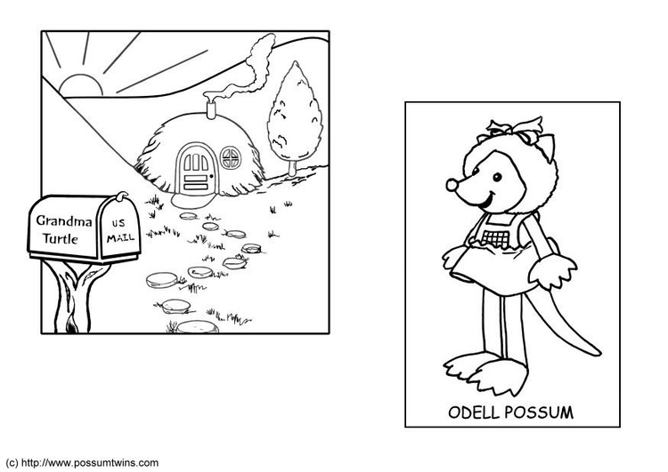 Coloring page possum twins