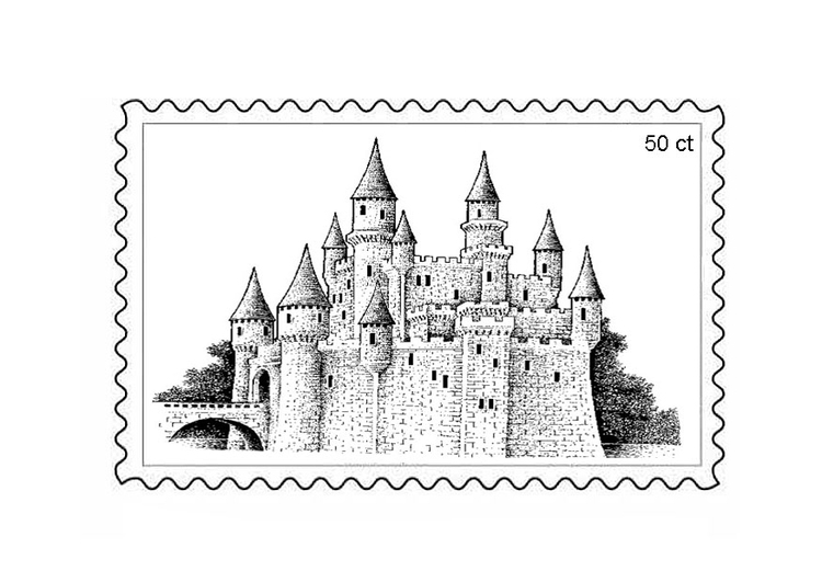 Coloring page postage stamp 3