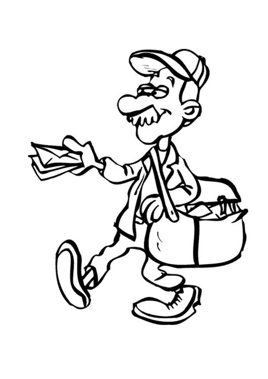 Coloring page postal carrier
