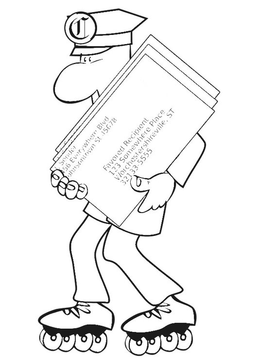 Coloring page postman on roller blades
