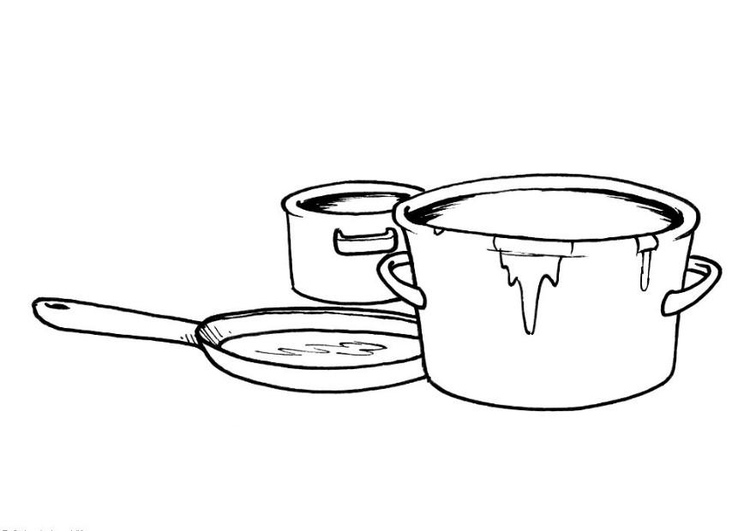 Coloring page pots and pans