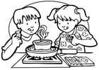 Coloring page preparing food