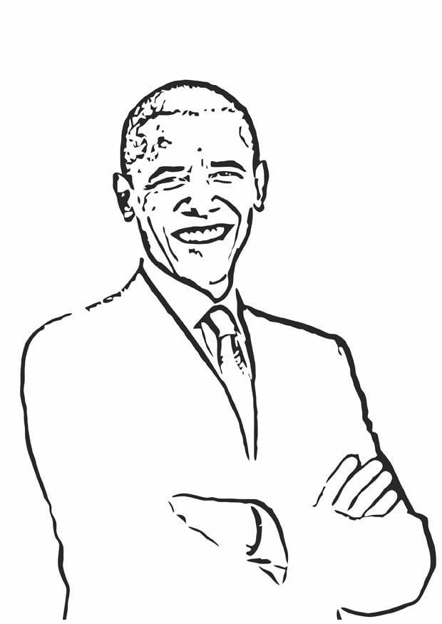 Coloring page Barack Obama img 12688