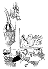 Coloring page priest at pulpit