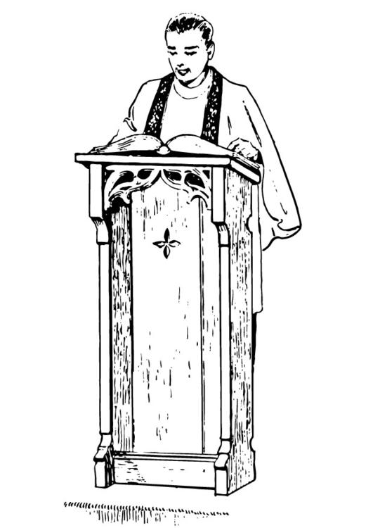 Priest behind lectern