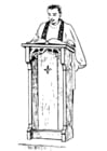 Coloring pages Priest behind lectern