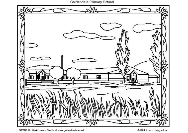 Coloring page primary school