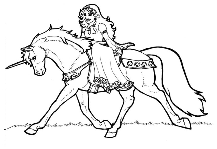 Coloring page Princes of Shamrock on unicorn