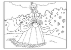 Coloring page princess in garden