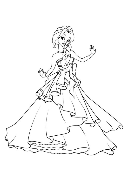 Coloring page princess is dancing