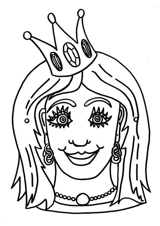 Coloring Page Princess Mask