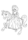Coloring pages princess on horseback