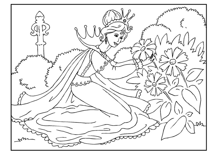 Coloring page princess picks flowers