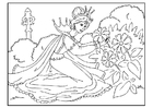 Coloring pages princess picks flowers