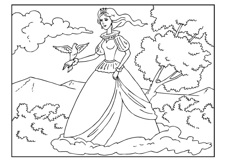 Coloring page princess with dove