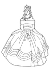Coloring pages princess with dress
