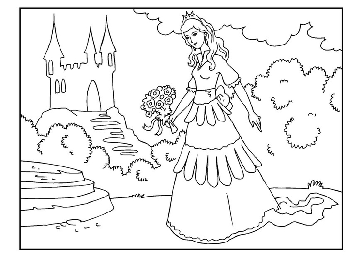 Coloring page princess with flowers