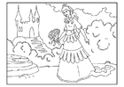 Coloring pages princess with flowers