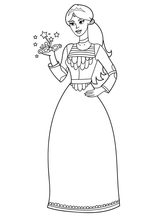 Coloring page princess with mask