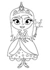 Coloring page princess with wand