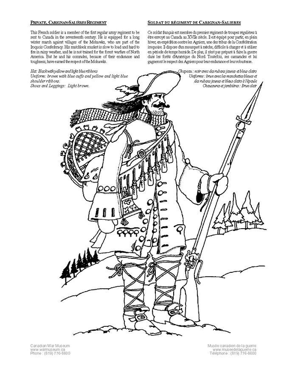 Coloring page private carignan soldier