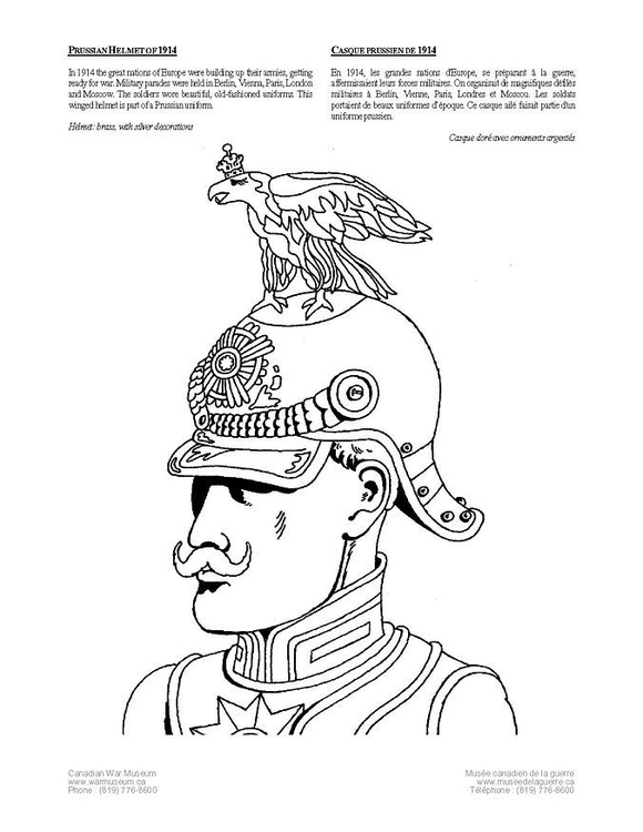 Coloring page Prusian helmet (1914)