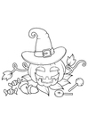 Coloring page pumpkin with hat
