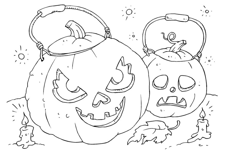 Coloring page pumpkins
