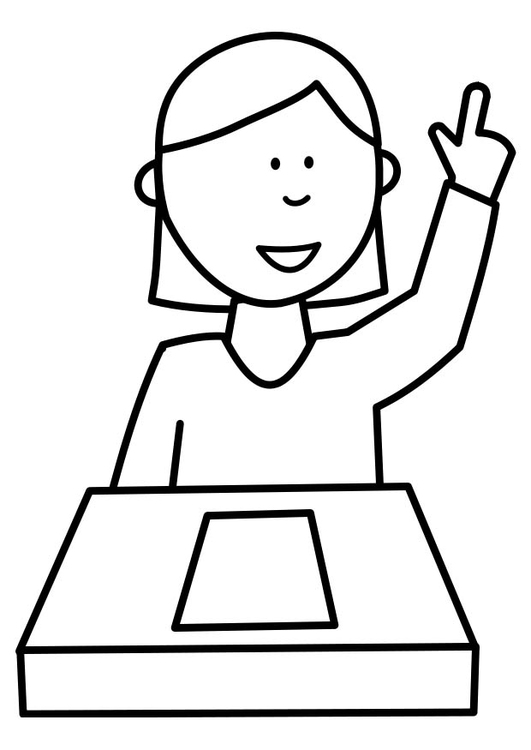 Coloring page pupil raises hand