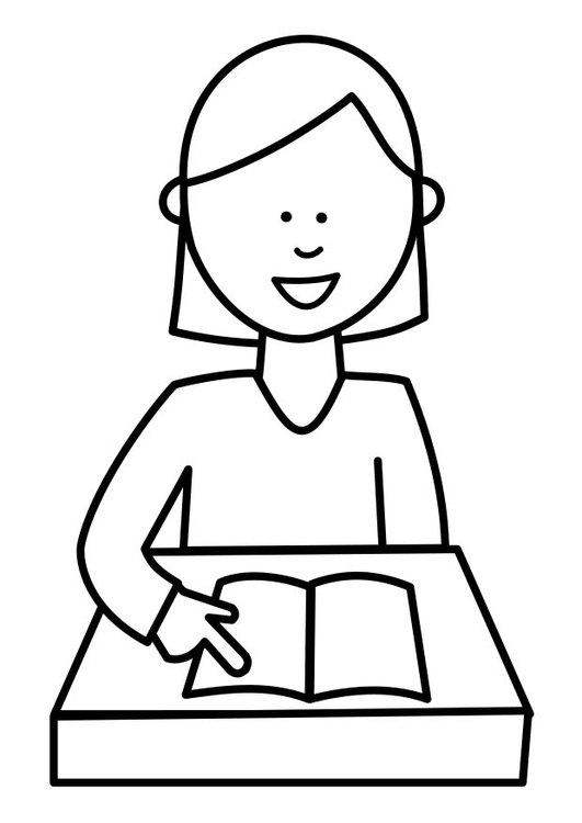 Coloring page pupil reads