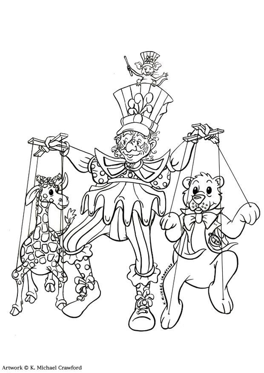 Coloring page puppet show
