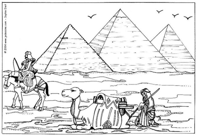 Coloring page Pyramids of Giza