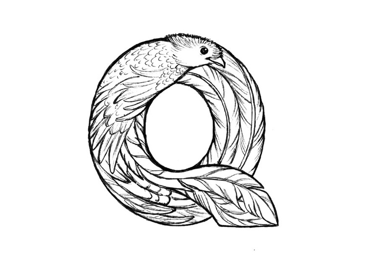 Coloring page q-quetzal