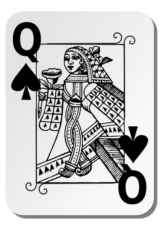 Coloring page queen of spades