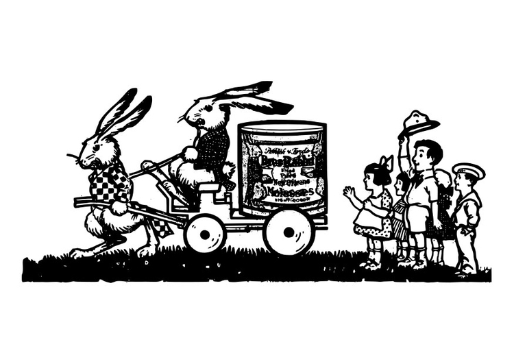 Coloring page rabbit family