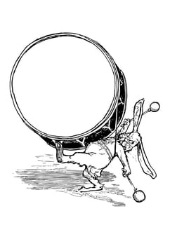 Coloring page rabbit with drum