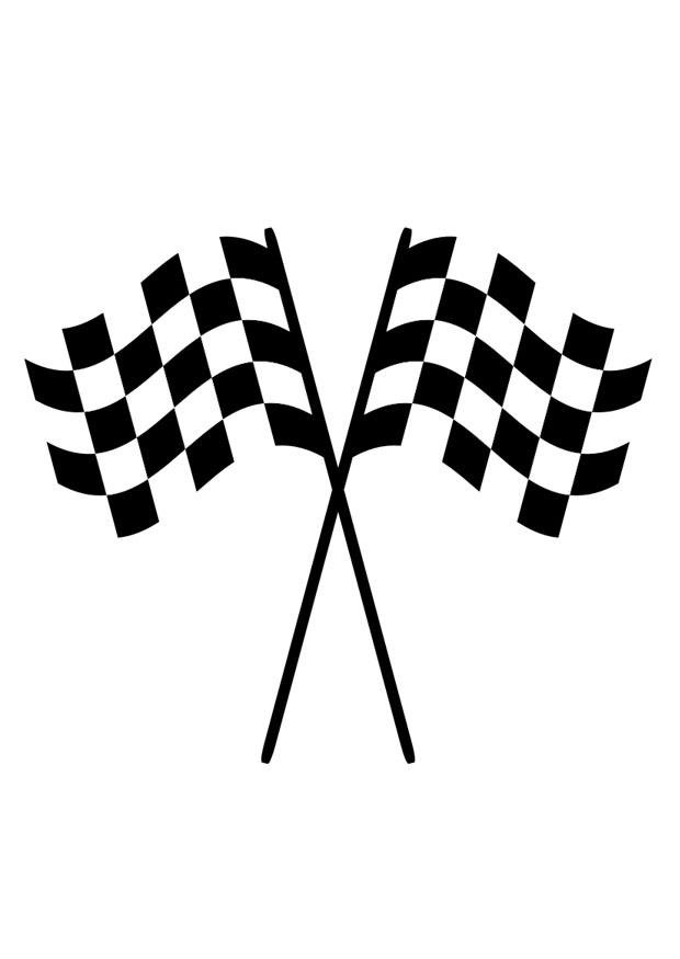 Coloring Page Racing Flags