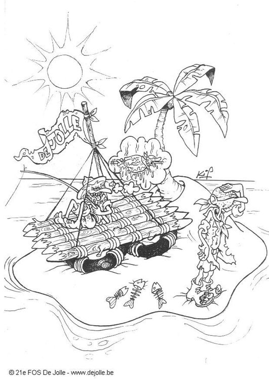 Coloring page raft tour